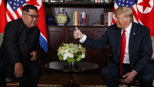 Trump gives Kim the thumbs up.