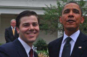 Dan Price Aged 26, meeting President Obama, after winning a young entrepreneur award.