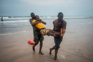 A member is carried from the sea as part of the drill