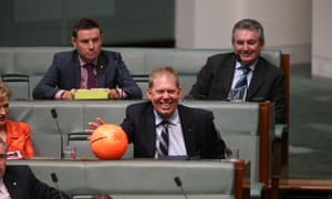 """The member for Forde Mr Bert van Manen with his """"prop"""" from the soccer field during question time in the house of representatives this afternoon, Tuesday 17th March 2015."""