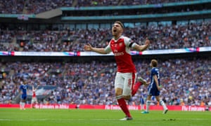 Aaron Ramsey scores for Arsenal against Chelsea in the FA Cup final in 2017.