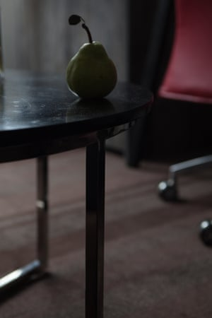 Pear on a hotel table