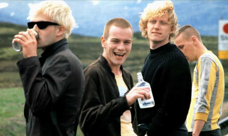 From left: Jonny Lee Miller, Ewan McGregor, Kevin McKidd and Ewen Bremner in the 1996 film adaptation of Irvine Welsh's Trainspotting. Photograph: Allstar/Channel Four Films