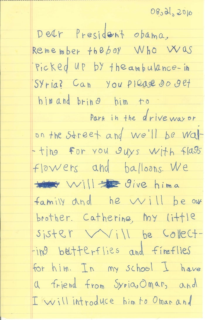 Obama cites letter from child offering home to young syrian refugee obama cites letter from child offering home to young syrian refugee us news the guardian spiritdancerdesigns Image collections