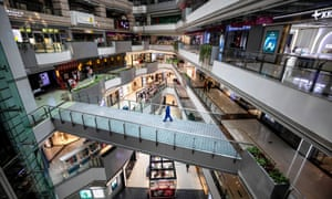 A view of a near-empty shopping mall in Guangzhou, Guangdong province, China.