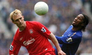 Sami Hyypia and Didier Drogba do battle in 2006.