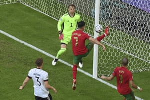 Portugal's Cristiano Ronaldo keeps the ball in play.