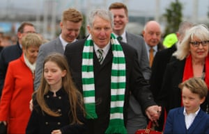 Billy McNeill and his family attend Celtic Park to watch their Premier League clash with Motherwell in December 2015