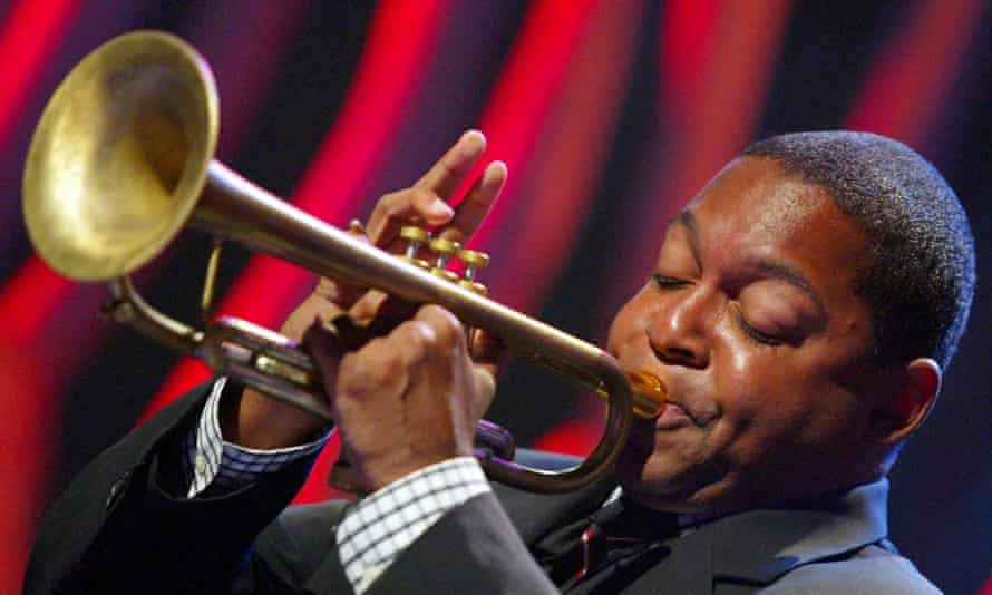 Wynton Marsalis performing with the Lincoln Center Jazz Orchestra.