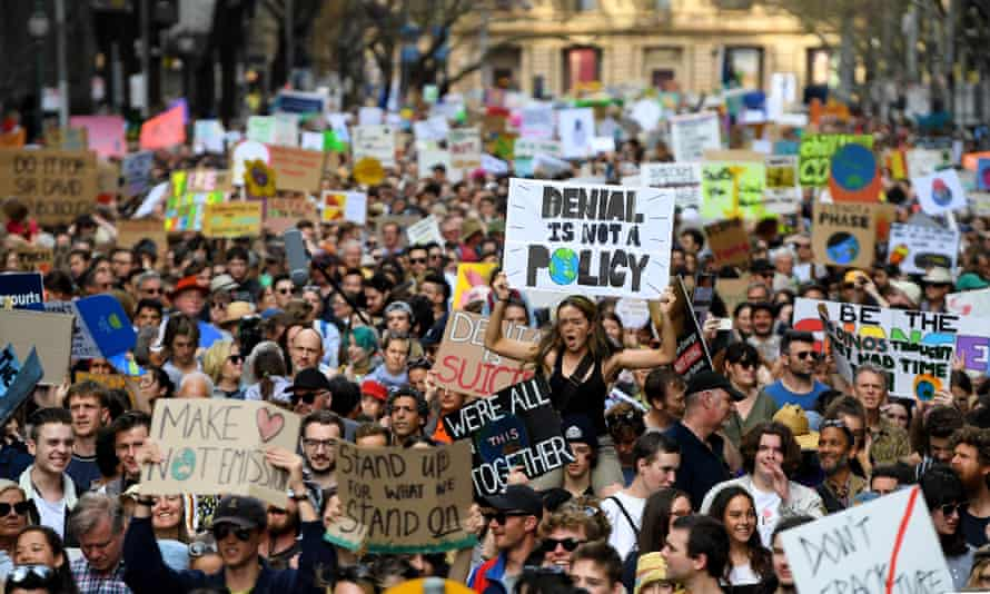 Protesters packed Spring Street in Melbourne for the climate strike.