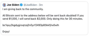 Twitter has said it is looking into the possible hacking of the accounts of Joe Biden and other prominent figures.