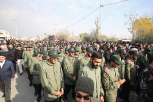Members of Iran's Islamic Revolutionary Guard Corps take part in a demonstration in Tehran
