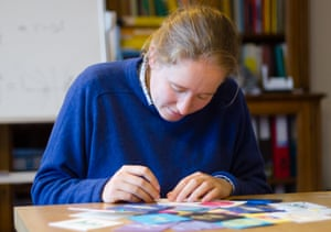 String 'em up: Vicky Neale making envelopes to put in envelopes.
