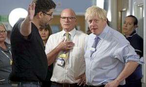 Omar Salem confronts Boris Johnson during his visit to Whipps Cross University Hospital