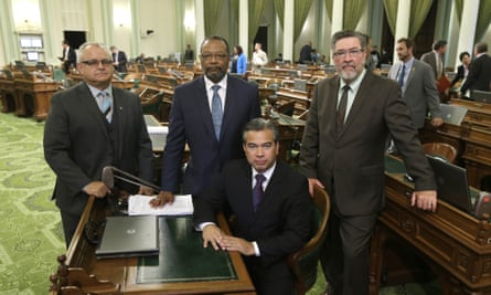 On 20 August, California assemblymen, from left, Tom Lackey, Reginald Jones-Sawyer, Rob Bonta, and Ken Cooley pose at the Capitol in Sacramento.