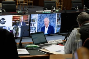 Former PM Malcolm Turnbull appears before the media diversity committee in the main committee room of Parliament House via video conference.