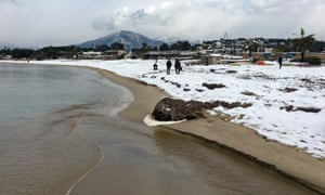 The shore of the bay of Ajaccio on the French Mediterranean island of Corsica was covered with snow on Tuesday.