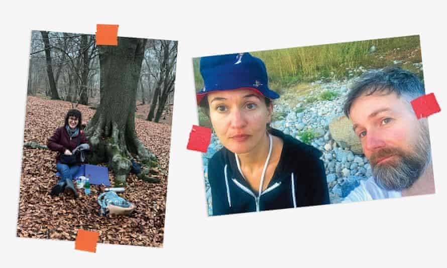 تصویری ترکیبی از عکسهای لورن کوکرین که شلوار جین قفل دار و کلاه ایمنی ناکام خود را پوشیده است