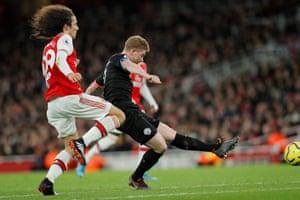 Manchester City's Kevin De Bruyne scores their third goal.