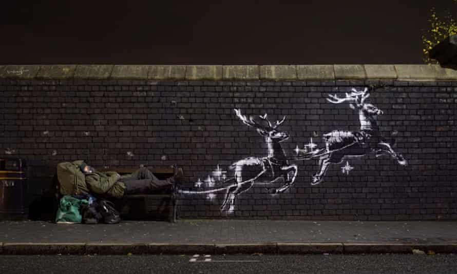 Banksy's new artwork God Bless Birmingham which has surfaced in Vyse Street.