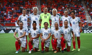 The England Lionesses pose for a team photo before kick-off.