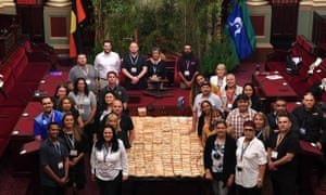 First Peoples' Assembly of Victoria members pose head of the inaugural meeting at state parliament on Tuesday.