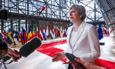 Departing: Theresa May in Brussels.