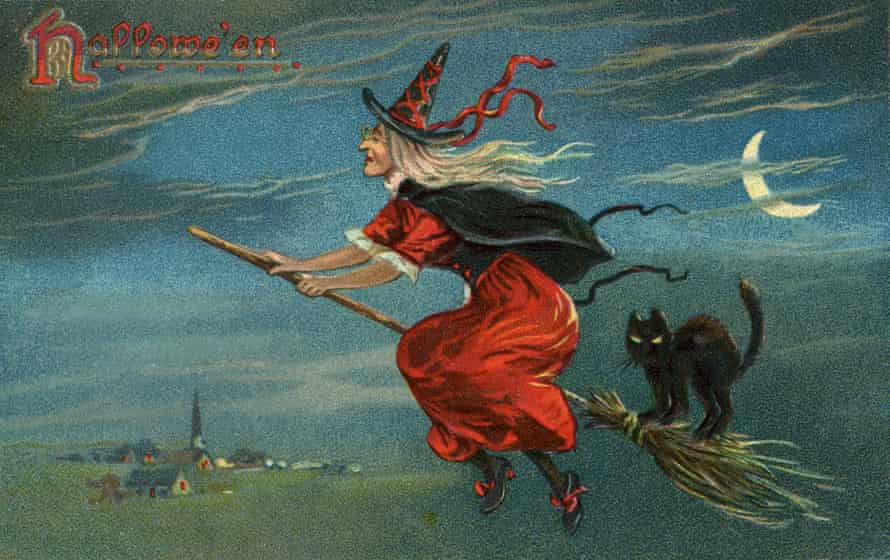 Vintage illustration of a witch and her black cat on a broom on Halloween.