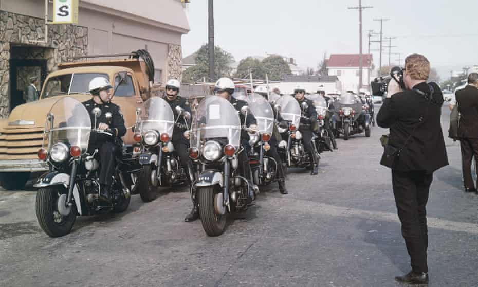 Motorcycle police in Berkeley, California wait in preparation for an anti-war rally in 1965.