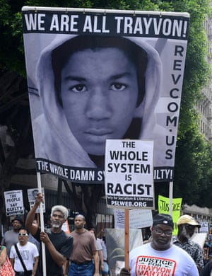 Protesters at a 'Justice for Trayvon' rally in Los Angeles, July 2013.