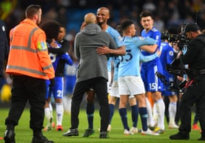 Pep Guardiola congratulates the man of the moment.