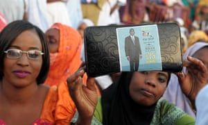 Supporters of Mauritania's former presidential candidate and anti-slavery activist Biram Ould Abeid in Nouakchott, 2014