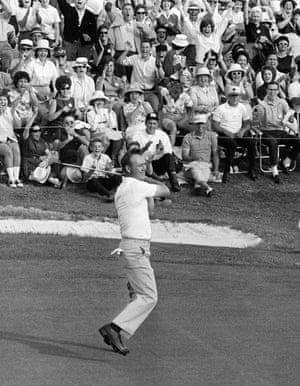 12 April 1964. Palmer swings his putter after he rolled in a long birdie putt on the 18th to win his fourth Masters, in Augusta, Georgia.
