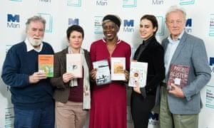 The Man Booker prize judges Tom Phillips, Sarah Hall, Baroness Lola Young, Lila Azam Zanganeh and Colin Thubron.