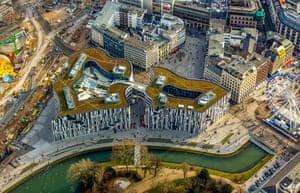 An aerial view of Kö-Bogen mall in Düsseldorf, Germany.