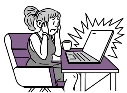 illustration of woman at computer