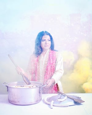 Cook Asma Khan, proprietor of the Darjeeling Express supper club, photographed on a roof top in London