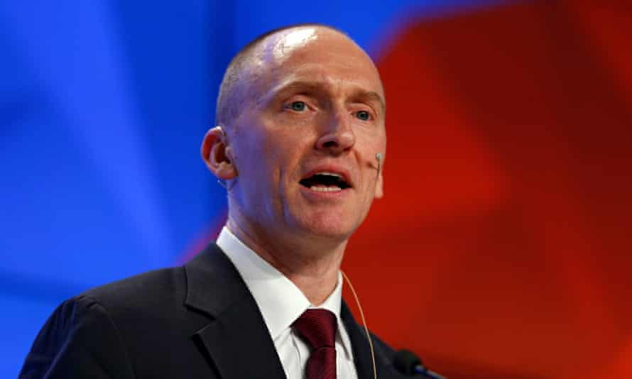 Carter Page, a former adviser to Donald Trump, speaks in Moscow in December.