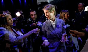 Cynthia Nixon talks to reporters while attending the 2018 New York state Democratic convention at Hofstra University in Hempstead, New York, last month.