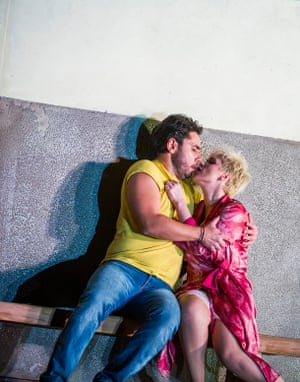 Dionysios Sourbis (Silvio) and Carmen Giannattasio (Nedda) in Pagliacci at the Royal Opera House.
