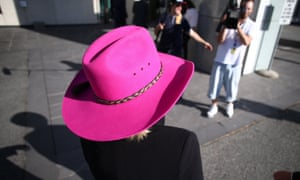 Nationals MP Fiona Nash in her pink Akubra on Tuesday morning.