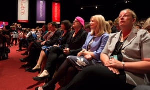 Eddie Izzard (centre) at the Labour conference