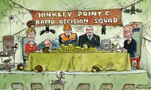 Cartoon of cobwebbed room containing people waiting for the Hinkley Point C decision, with hedgehogs