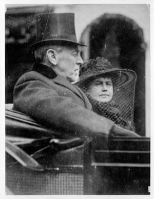 Woodrow Wilson and Edith Galt ride to his second inauguration, 5 March 1917