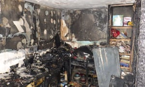 Fire damage to a flat from a faulty tumble dryer.