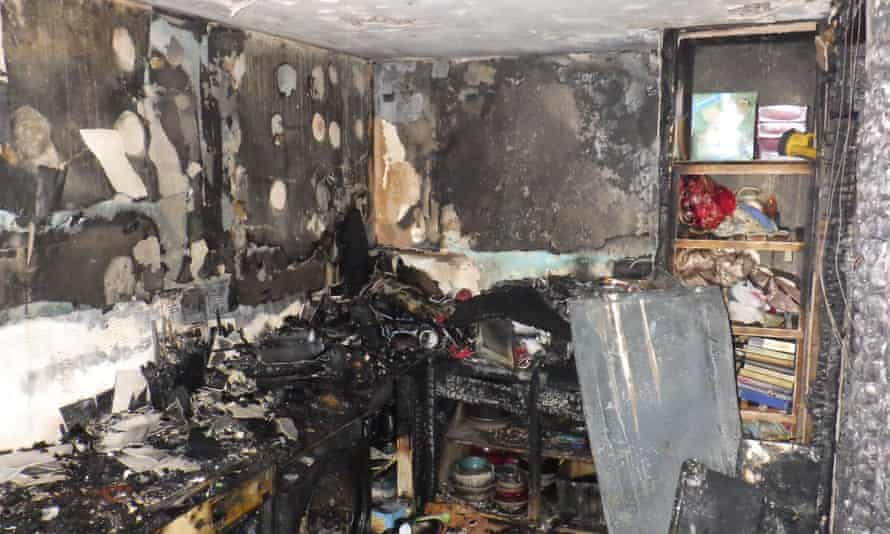 Fire damage to flat caused by a faulty tumble dryer.