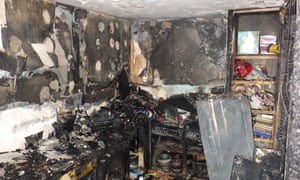 Damage to a flat in Shepherd's Bush, west London, caused by a fire allegedly started by an Indesit tumble dryer.