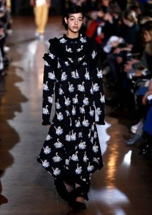 A Stella McCartney model in a whimsical swan-print dress
