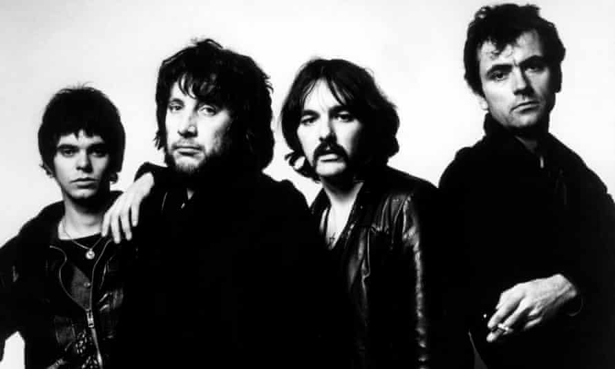 The Stranglers … from left, Jean-Jacques Burnel, Jet Black, Dave Greenfield, Hugh Cornwell.