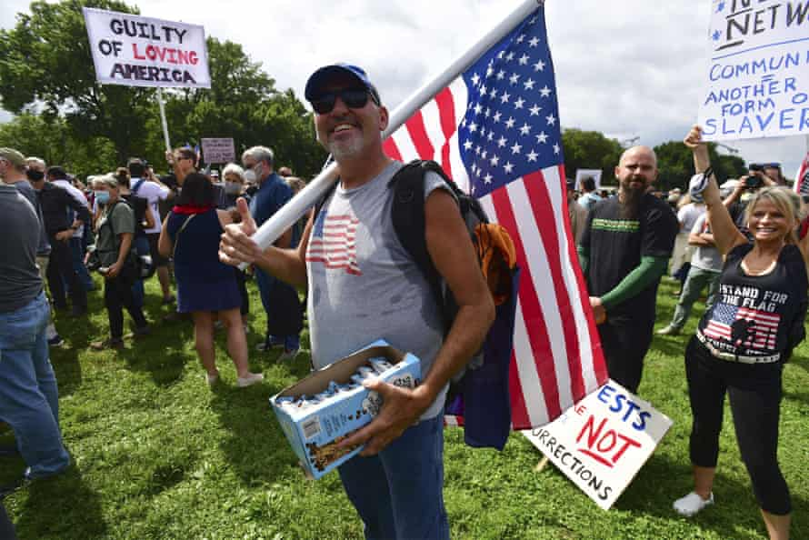 'Kentucky Phil', a US Coast Guard veteran, protests during the rally in Washington DC.